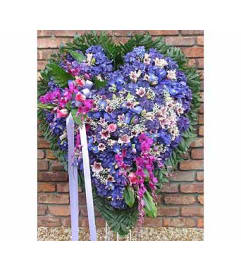 Solid Heart Blue Hydrangea, Blue Iris & Purple Orchids