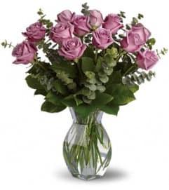 One Dozen Purple Roses Arranged