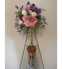 Sympathy wind chime with silk flower trim
