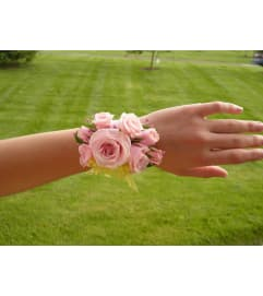 WRIST CORSAGE OF PINK FLOWERS - OR COLOR OF YOUR CHOICE .