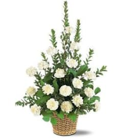 White Carnation Basket