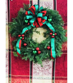 Green & Red Dazzling Balsam Wreath