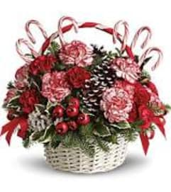 Christmas Candy Cane Basket