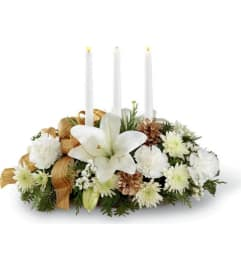 SEASONS GLOW CENTERPIECE  GOLD & WHITE