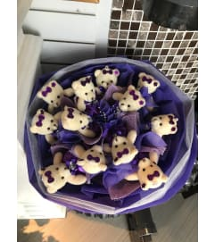 Purple Teddy Bears Bouquet