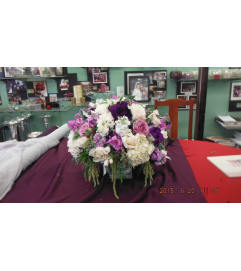 purple, lavender and white low arrangement