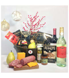 Our Best Gourmet Basket includes 2 bottles of wine