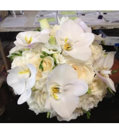 vendela fressias, lisianthus & philanopsis bridal bouquet 1