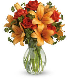 Fiery Lilies and Roses