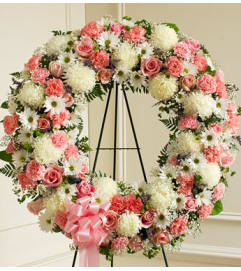 Pink and White Open Wreath