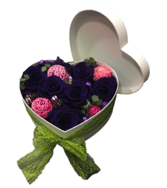 Preserved Rose Heart Box - Giant purple head