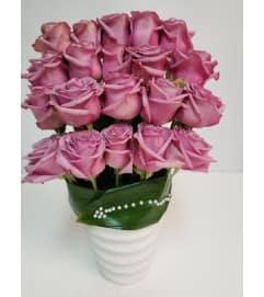 24 Roses In Modern Vase