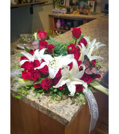 Classic Lily and Rose Urn Wreath