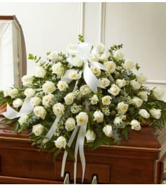 Half Casket Cover White Rose