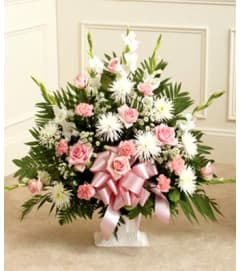 Pink and White Sympathy Floor Basket Spray