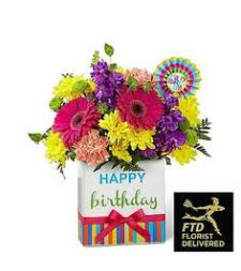 The FTD® Birthday Brights™ Bouquet is a true celebration of color