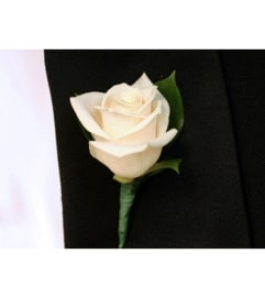 ANY COLOR ROSE BOUTONNIERE TO MATCH. WITH OR WITHOUT BABIES BREAT