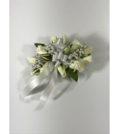 White Mini Rose Wrist Corsage *PLEASE CALL TO ORDER*