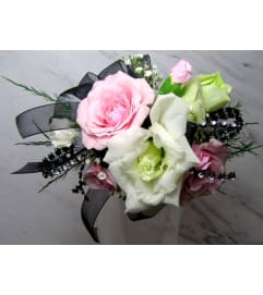 Pink and White Party Wrist Corsage