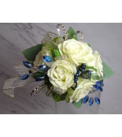 White and Blue Dazzle wrist Corsage