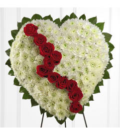 Broken Heart white chrysanthemum and red roses