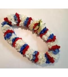 Double red, white and blue carnation lei