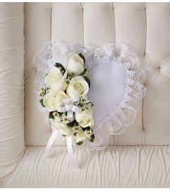 Satin Heart Casket Pillow White