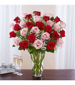 Long Stem Pink & Red Rose Bqt