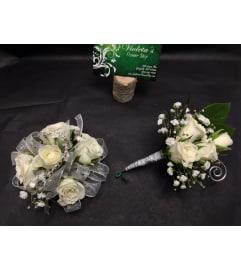 White Mini Roses and Diamonds Duo