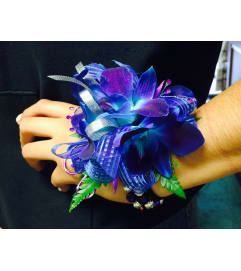 Royal Blue/Purple Orchids Corsage