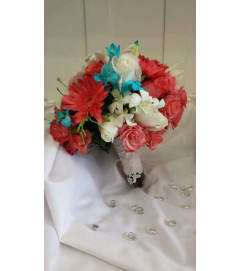 Coral and Turquoise Bouquet