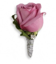 Purple Roses And Ribbons Boutonniere