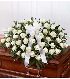 White Rose Casket Cover