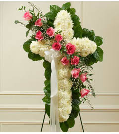 Cross Tribute with Pink Roses