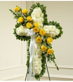 White Cross with Yellow Roses Tribute