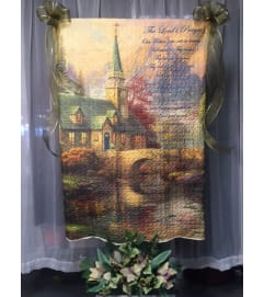 Ellington's Quilt on Stand with Silk Flowers