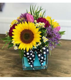 Sunflowers and Polka dots
