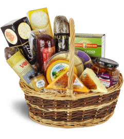 Premium Gourmet Meat & Cheese Basket by Lovingly