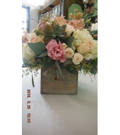 wooden box floral arrangement