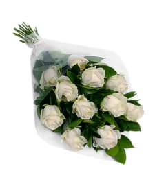 Perfect Wrapped Long-Stemmed White Roses