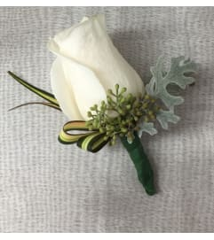 classy white rose boutonniere