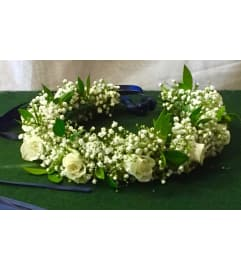 all white head wreath