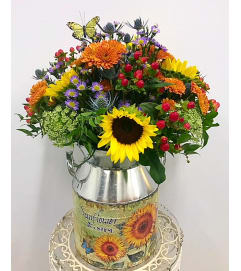 Rustic Fall Arrangment in Sunflower Milk Can Medium
