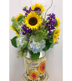 Sunflowers and Hydrangea in Rustic Milk Jug