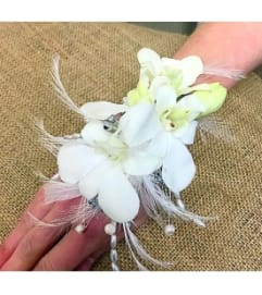 White Dendrobium Orchid & Feather Wristlet