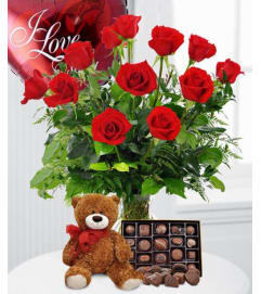 12 Roses, Balloon, Bear & Candy