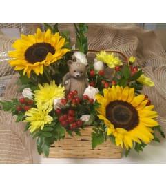 Angel Bear Autumn Basket