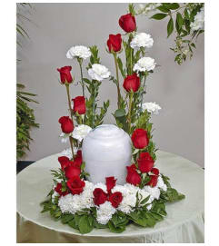Red & White Urn Display