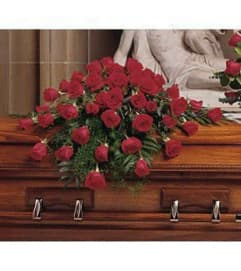 Blooming Red Rose Casket Spray