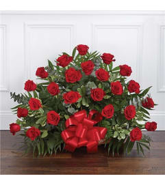 Fireside Basket - Red Roses